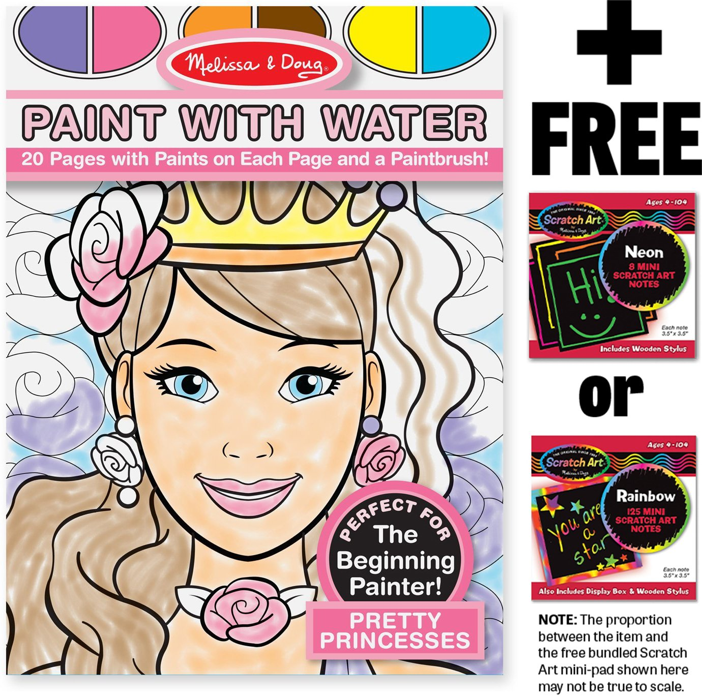 Pretty Princesses: Color with Water Activity Book + FREE Melissa & Doug Scratch Art Mini-Pad Bundle [94344]