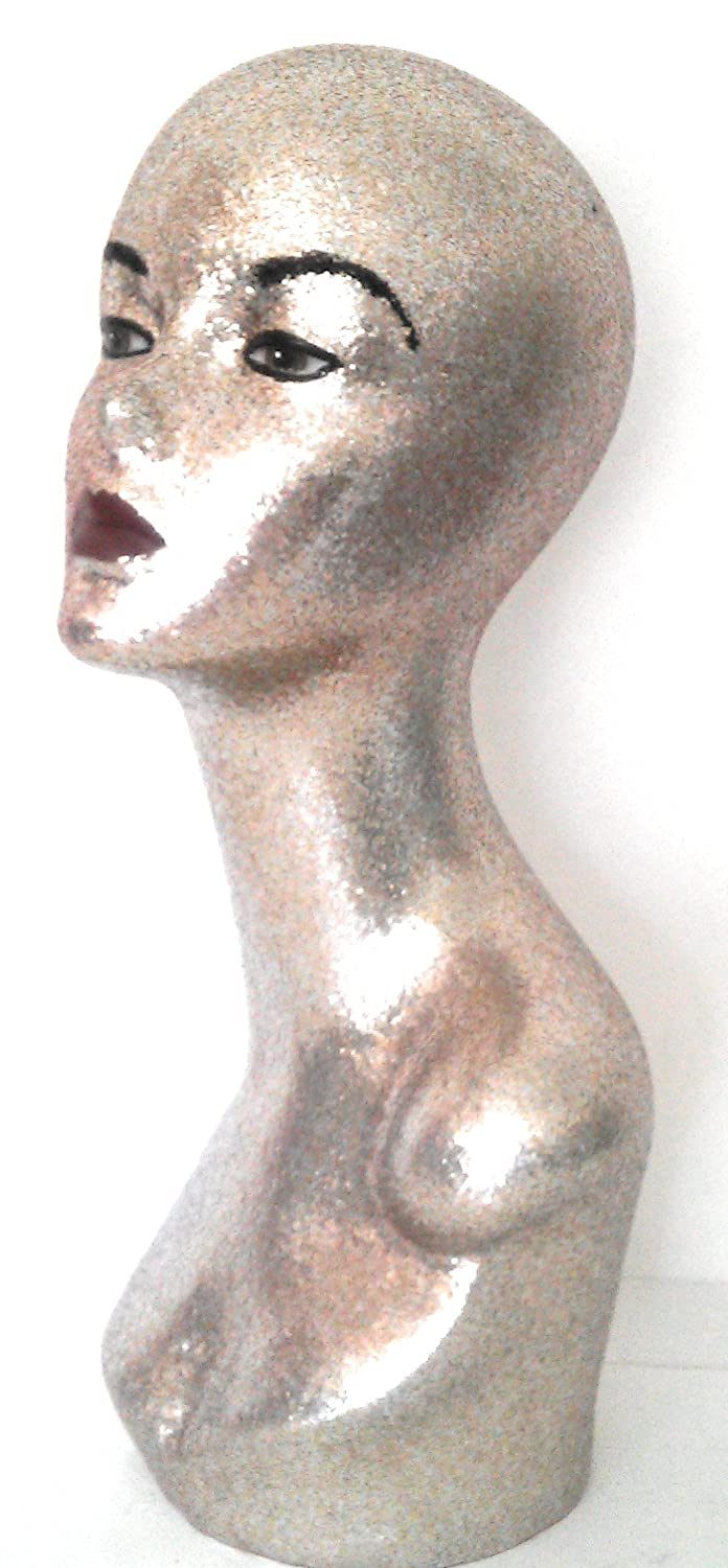 Champagne Female Plastic Mannequin Head for wigs and displays