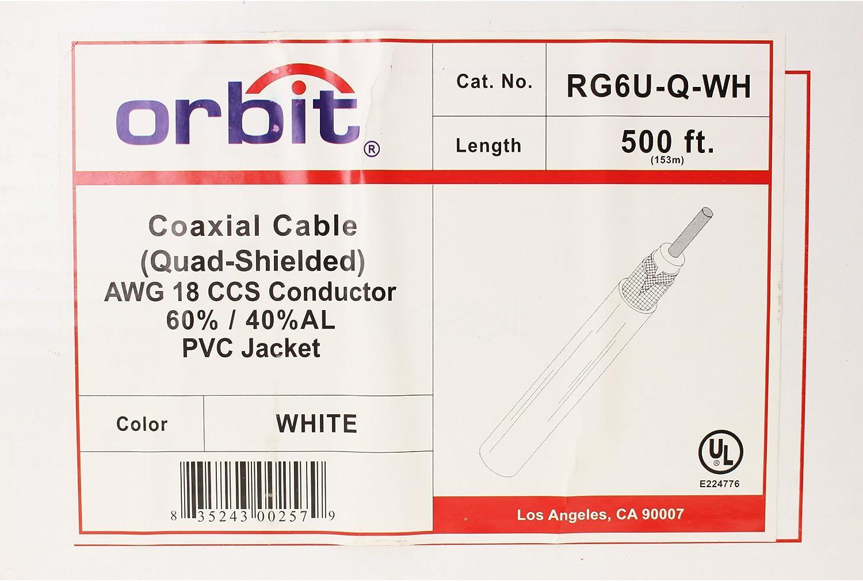 500-Feet White RG-6 Coax 1Ghz Orbit RG6U-Q-WH Quad Shield RG6U Coaxial Cable