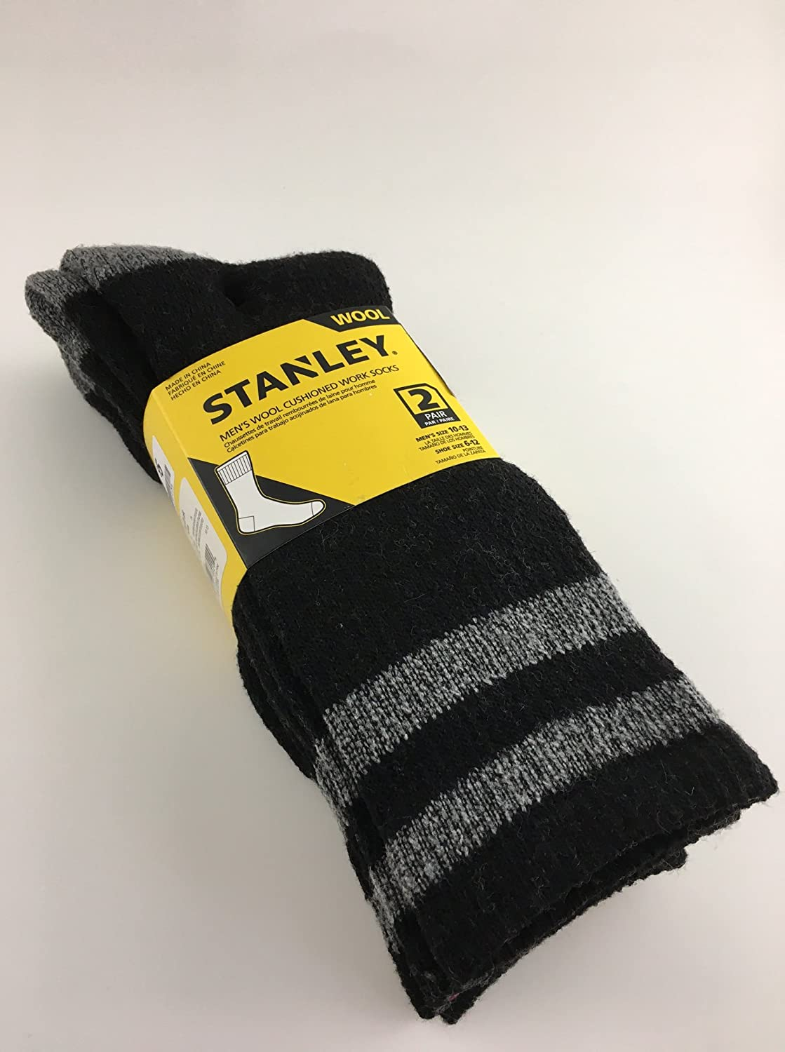 Amazon.com: Stanley Mens Wool Cushioned Work Socks - 2 Pair (Black): Clothing