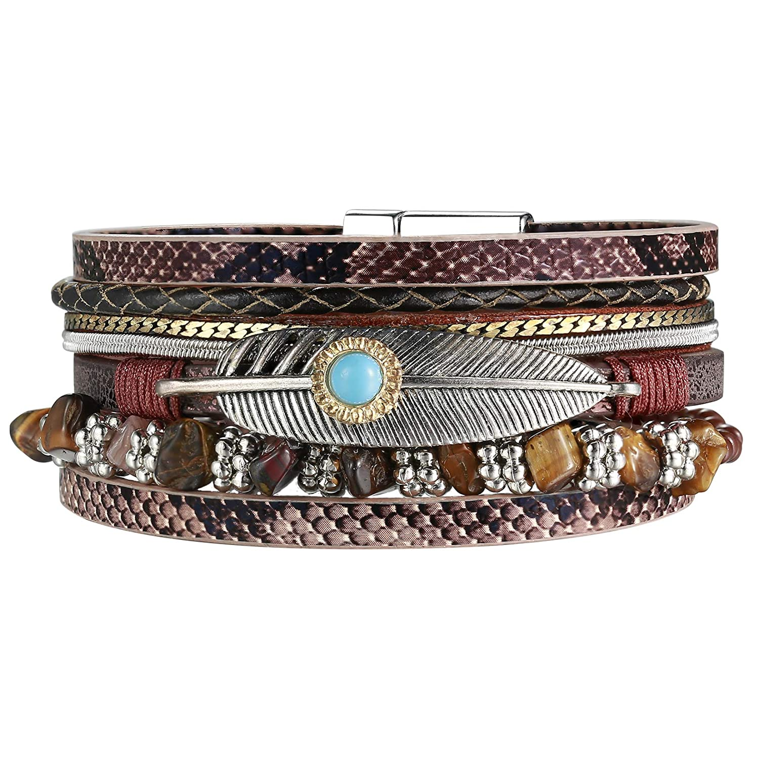AZORA Leather Cuff Bracelet...