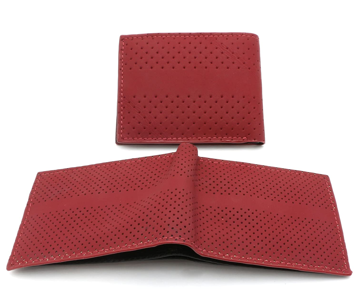 Bifold Maroon Red Genuine Leather Wallet Holed Design with a Detachable Flap