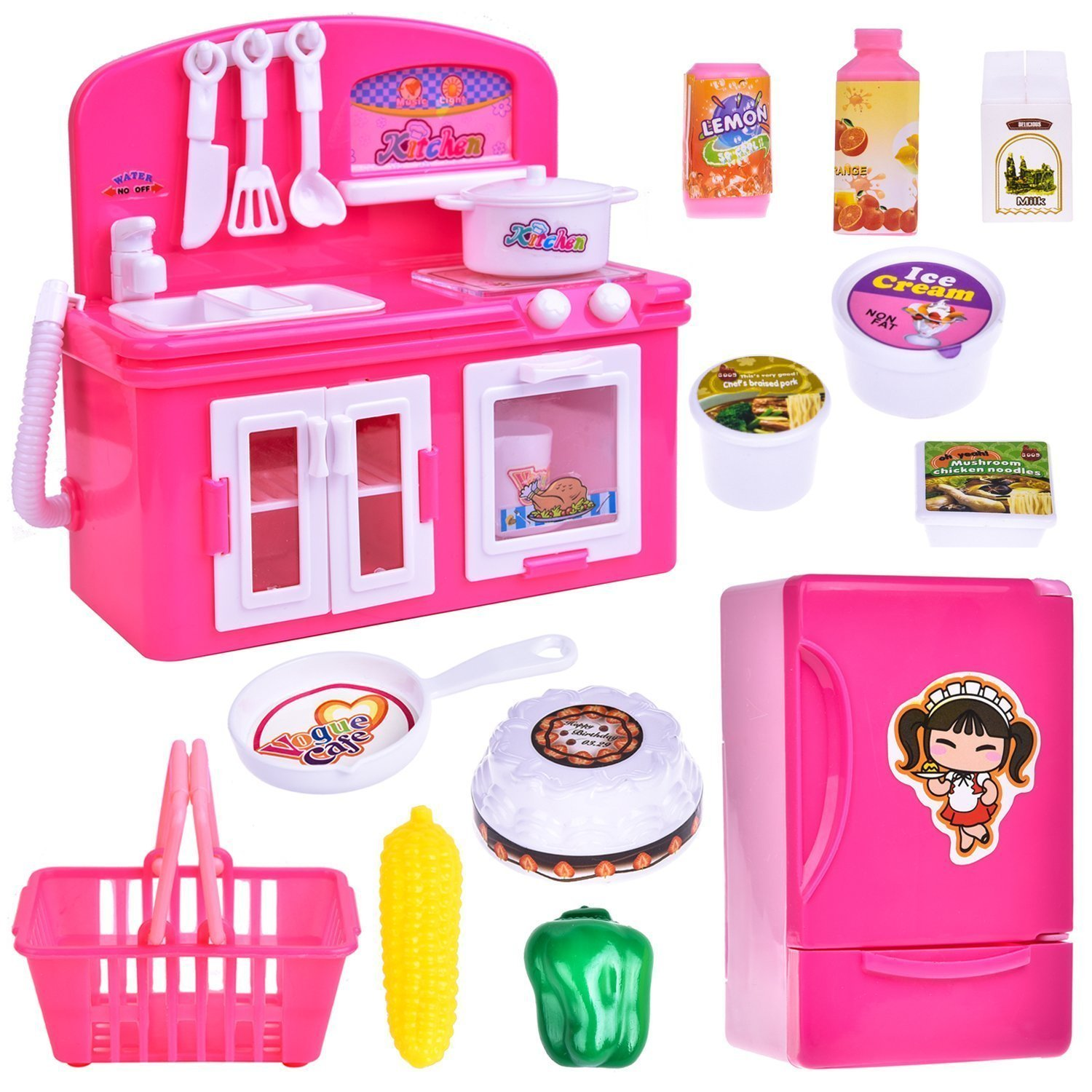19 PCs Kitchen Appliance Toys with Kitchen, Refrigerator, Pot and Tableware, Pretend Play Set for Kids, Play Kitchen Appliance by FUN LITTLE TOYS (Image #8)