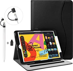 "Fintie Bundle: Multi-Angle Case Cover for iPad 7th Generation 10.2"" 2019 + 3 Pieces Apple Pencil Cap Holder, Nib Cover, Charging Cable Adapter Tether for Apple Pencil 1st Generation, Black"