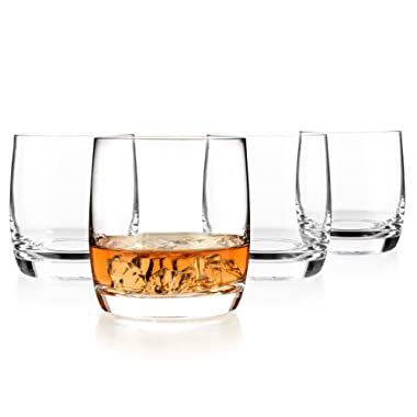 Luxbe - Scotch & Whiskey Crystal Glasses 10.1-ounce, Set of 4-100% Hand Blown Lead-free - Barware Old Fashioned Cocktail Glass Cups - Elegant, Liquor or Bourbon Tumblers