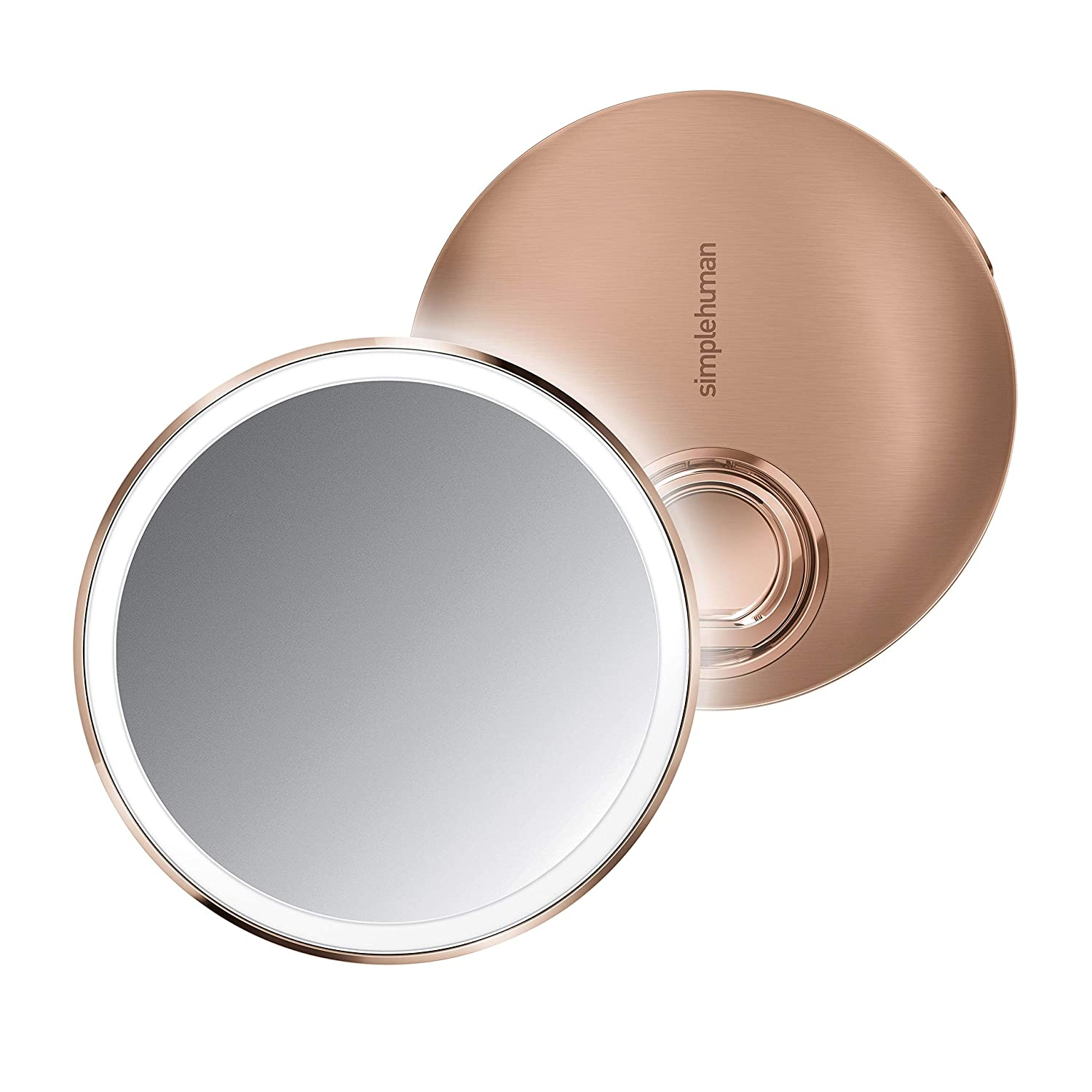 """simplehuman Sensor Mirror Compact 4"""" Round, 3X Magnification, Rose Gold Stainless Steel"""