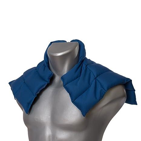 Cojín nuca y hombros con cuello (algodón orgánico azúl) | Almohada térmica de semillas | Saco cervical | Semillas de lino |