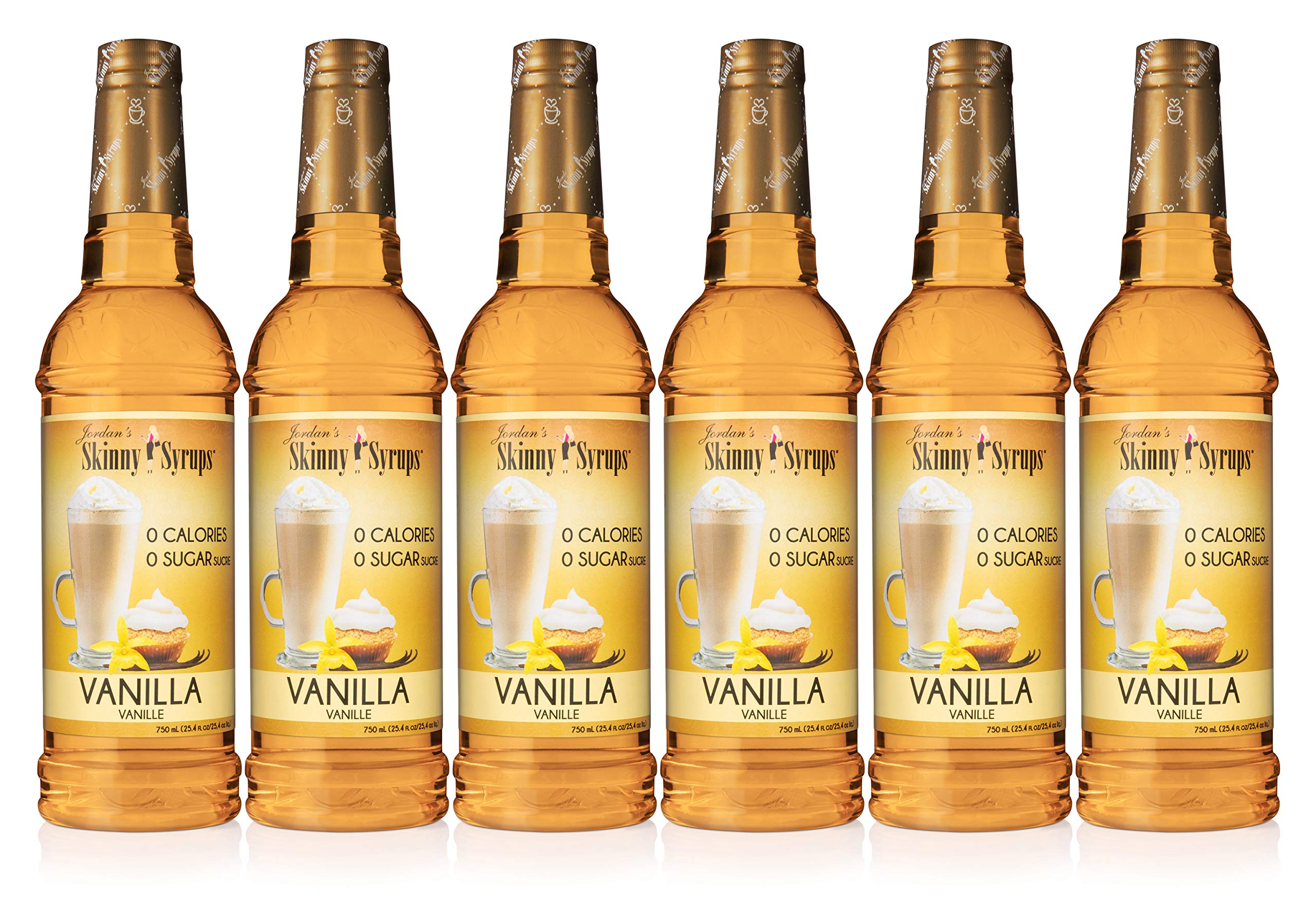 Jordan's Skinny Syrups Vanilla, Sugar Free Coffee Flavoring Syrup, 25.4 Ounce Bottle (Pack of 6)