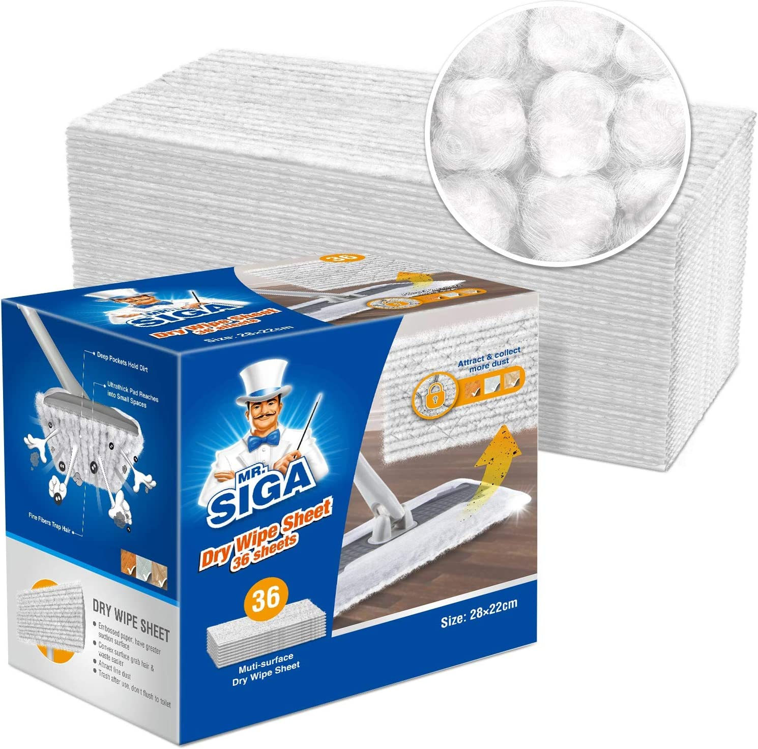MR.SIGA Microfiber Dry Sweeping Refills, Disposable Dry Sweeping Cloths for Floor Cleaning, Unscented, 36 Count
