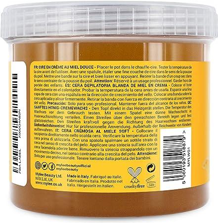 Mylee Cera De Miel Suave en Crema para Pieles Sensibles 425g, Pote de Crema Depilatoria para Eliminar Vello, Ideal para Cuerpo, Se Puede Calentar en el Microondas o en un Calentador de