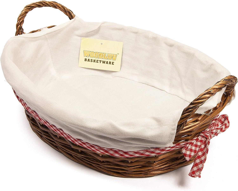 ELITE Woodluv Oval Wicker Hamper Basket With White Lining 38x28cm
