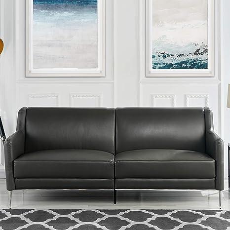 Amazon.com: Sofá de piel Mid Century de 30.4 in, elegante y ...