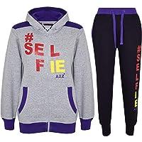 Boys Girls Jogging Suit Kids Designer's #Selfie Tracksuit Top Hoodie Bottom 5-13