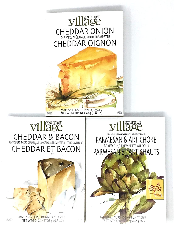 Gourmet du Village Dip Mix Trio - Parmesan & Artichoke Dip, Cheddar & Bacon Dip and Cheddar Onion Dip