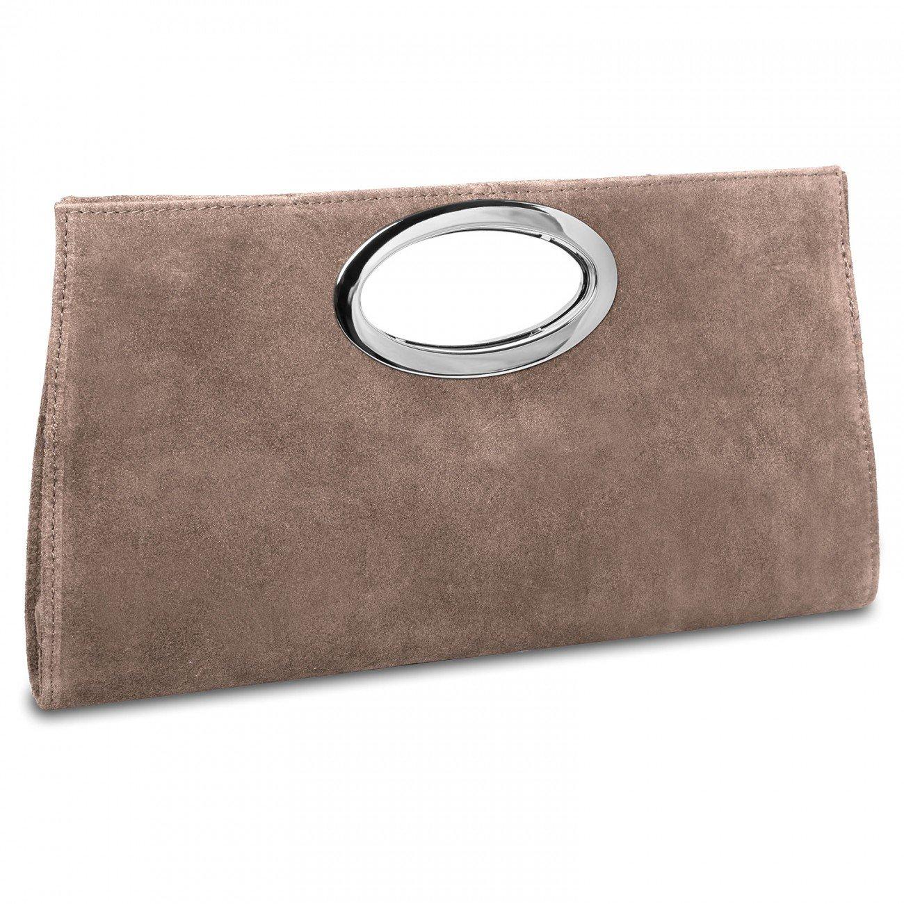 CASPAR TL699 groß e Damen XXL Wildleder Clutch Tasche Handtasche Abendtasche Ledertasche Farbe:hell beige 4251085246012