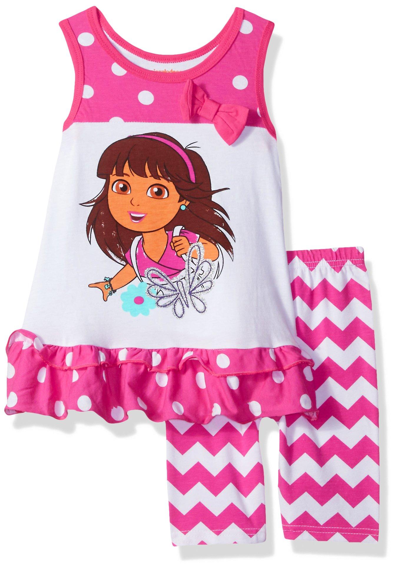Nickelodeon Little Girls' Dora The Explorer 2 Piece Bike Short Set, Pink, 6