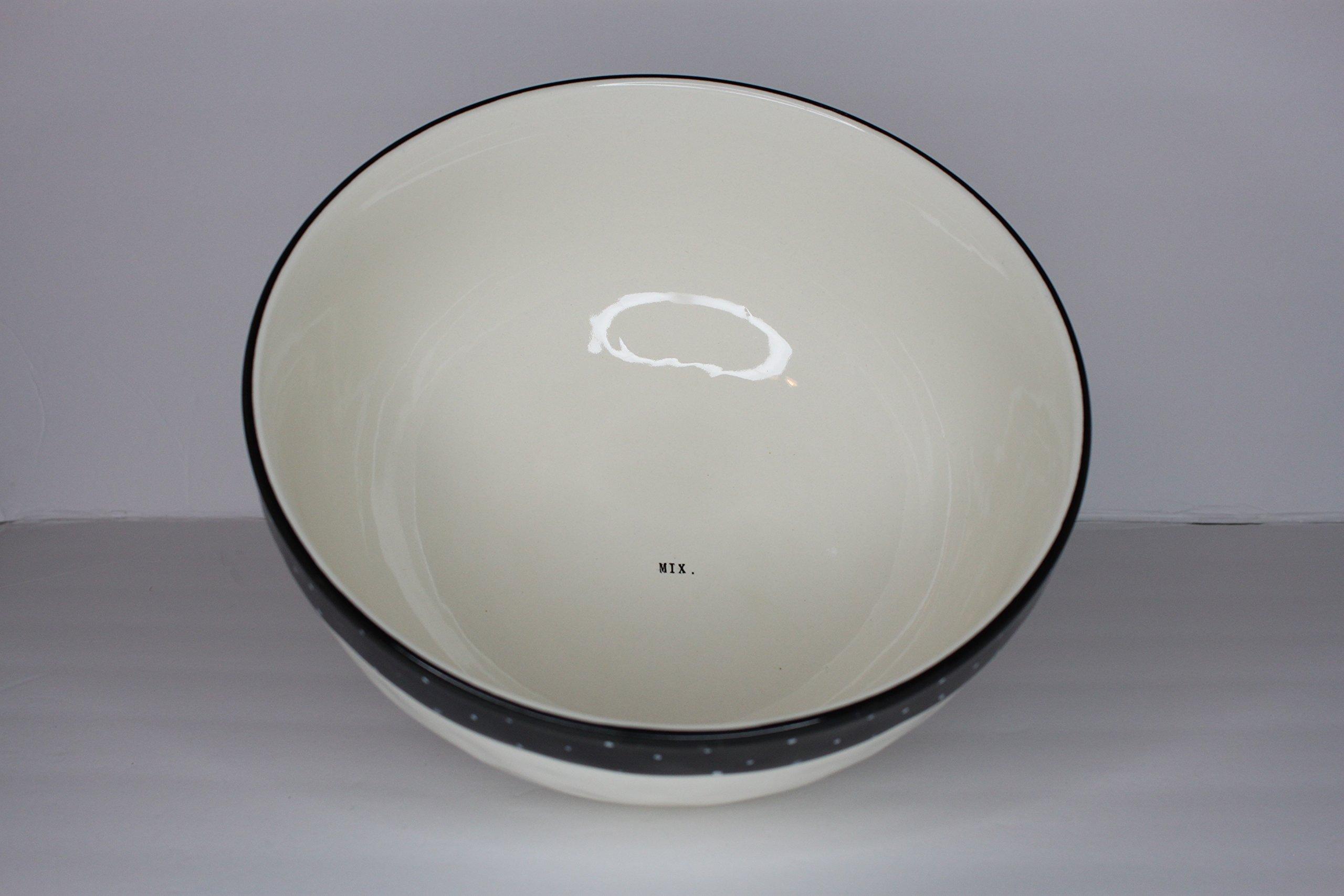 Rae Dunn Magenta Ceramic Stoneware Mixing Bowl Typewriter Mix. - Cream/Black Polka Dot