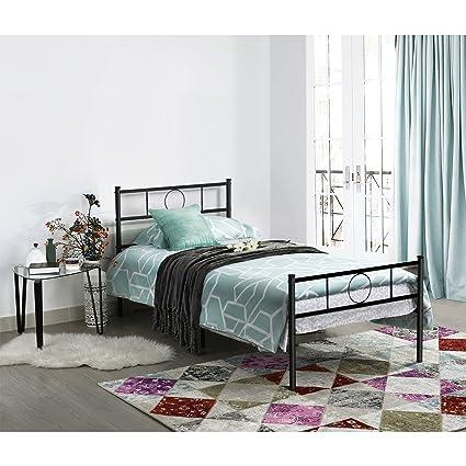 Aingoo Marco para cama simple Marco para cama de metal negro: Amazon ...