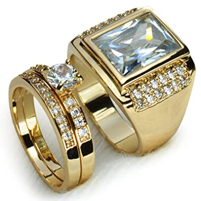 wayneFor couple set Men women ring wedding engagement gift jewelry
