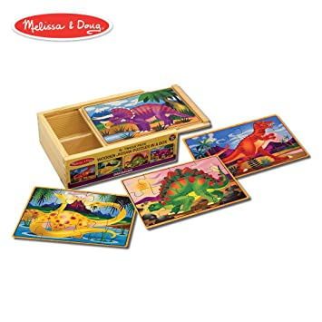 Melissa Doug Dinosaurs 4 In 1 Wooden Jigsaw Puzzles In A Storage Box 48 Pcs