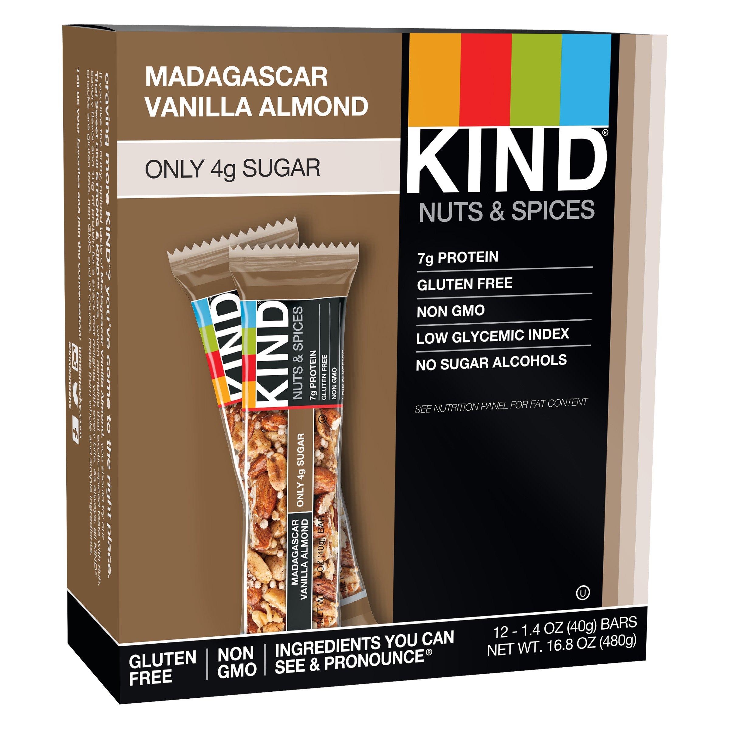KIND Nuts & Spices, Madagascar Vanilla Almond, 12-Count ,1.4 Ounce Bars