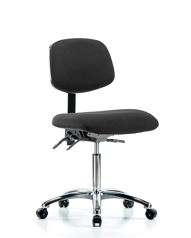Black ESD Casters LabTech Seating LT41075 ESD Fabric Medium Bench Chair Medium Back Chrome Base