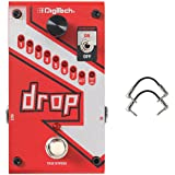 Digitech DROP Compact Polyphonic Drop Tune Pitch Shift Pedal with Momentary Latch Switching and True Bypass with Electronic Power Supply and Patch Pedal Cable