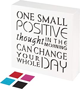 KAUZA Positive Thought Office Decor Inspirational Wall Art Plaques with Sayings Motivational Gifts 5.5 x 5.5 Inch … (White New)
