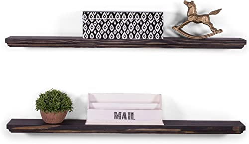 DAKODA LOVE Routed Edge Floating Shelves USA Handmade Wall Mounted Hidden Single Bar Floating Shelf Bracket Contemporary Pine Wood Set of 2 Midnight, 36 L x 5.25 D