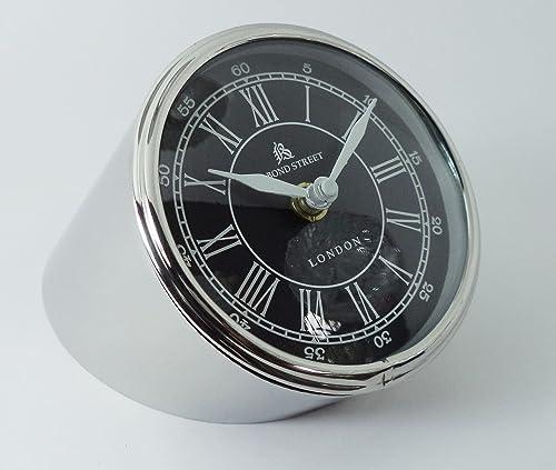 Dorpmarket 4.25 Chrome Contemporary Minimal German Design Desk Clock from Stainless Steel