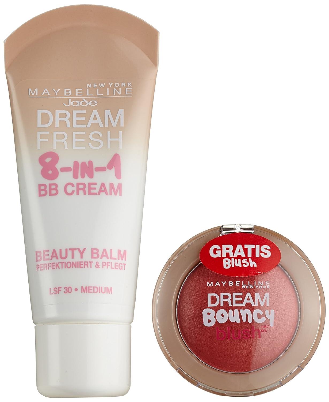 Maybelline New York - Set di BB Cream Dream Fresh 8 in 1, Medium Plus, e blush in crema Bouncy, Peach, 1 confezione YDE01107