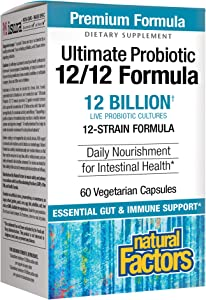 Natural Factors, Ultimate Probiotic 12/12 Formula, Supplement to Support Digestive & Immune Health, 12 Billion CFU, 60 Capsules (60 Servings)