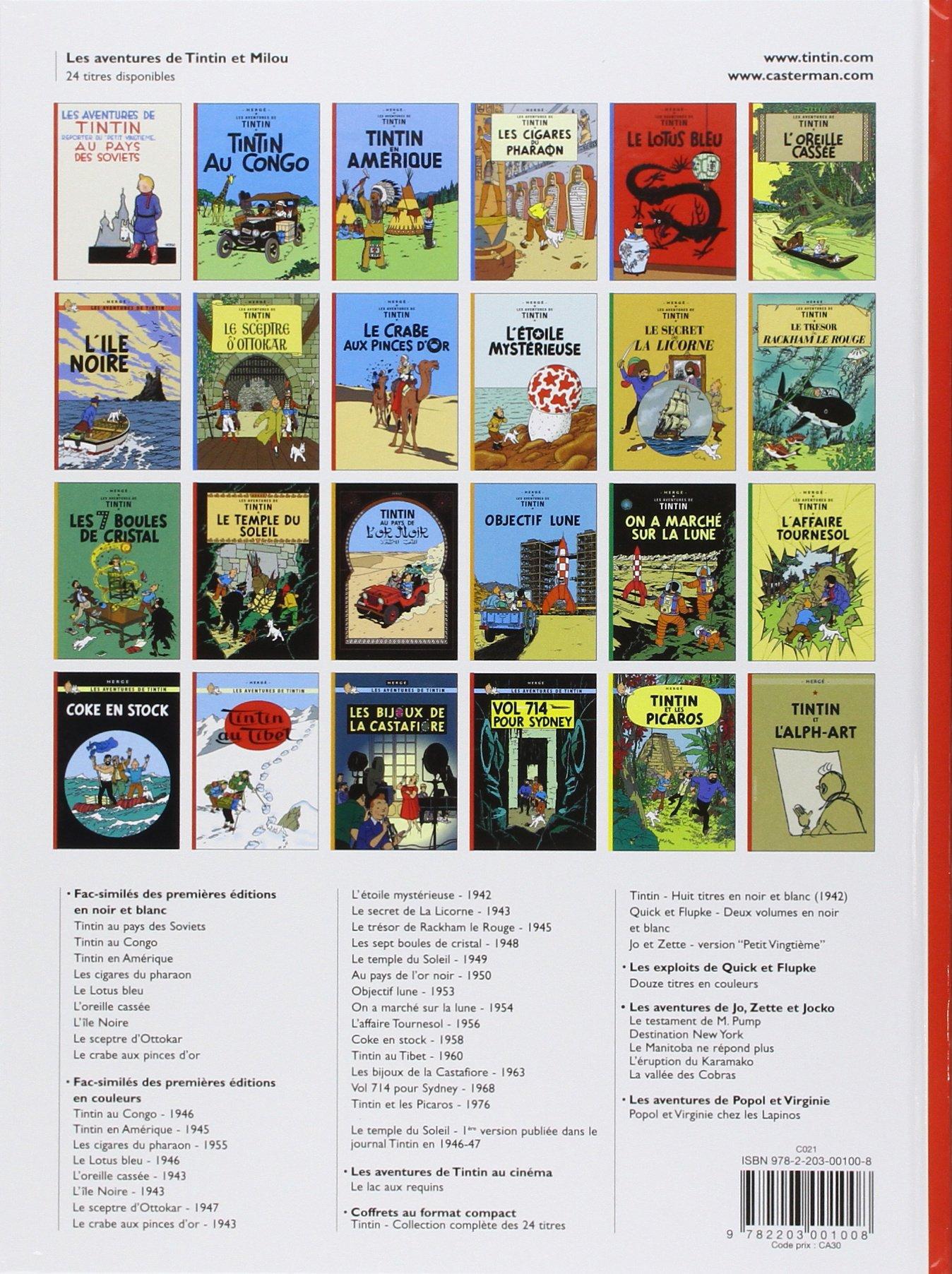 Vol 714 pour Sydney Les Aventures de Tintin Edition fac-similé
