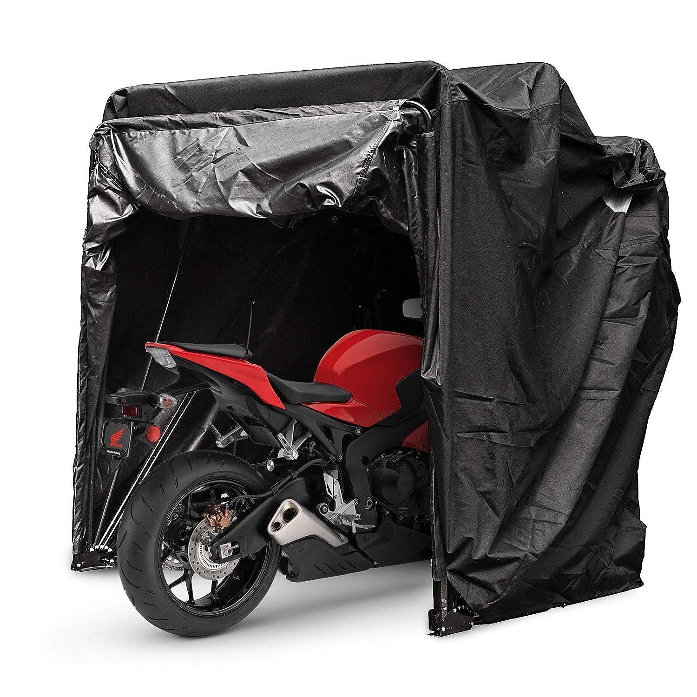 Couleur Noire avec Serrure Mophorn Couverture de Moto Abri Stockage Etanche Moto Tente de Stationnement Oxford 600D Couleur Noire Abri de Moto Hangar avec Code TSA Lock /& Sac de Transport