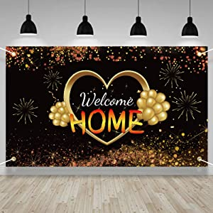 Lnlofen Welcome Home Banner Sign Decorations, Large Welcome Home Backdrop Supplies, Black Gold Homecoming Poster Photo Props for Home Decoration Family Party Decor(6X3.6ft)