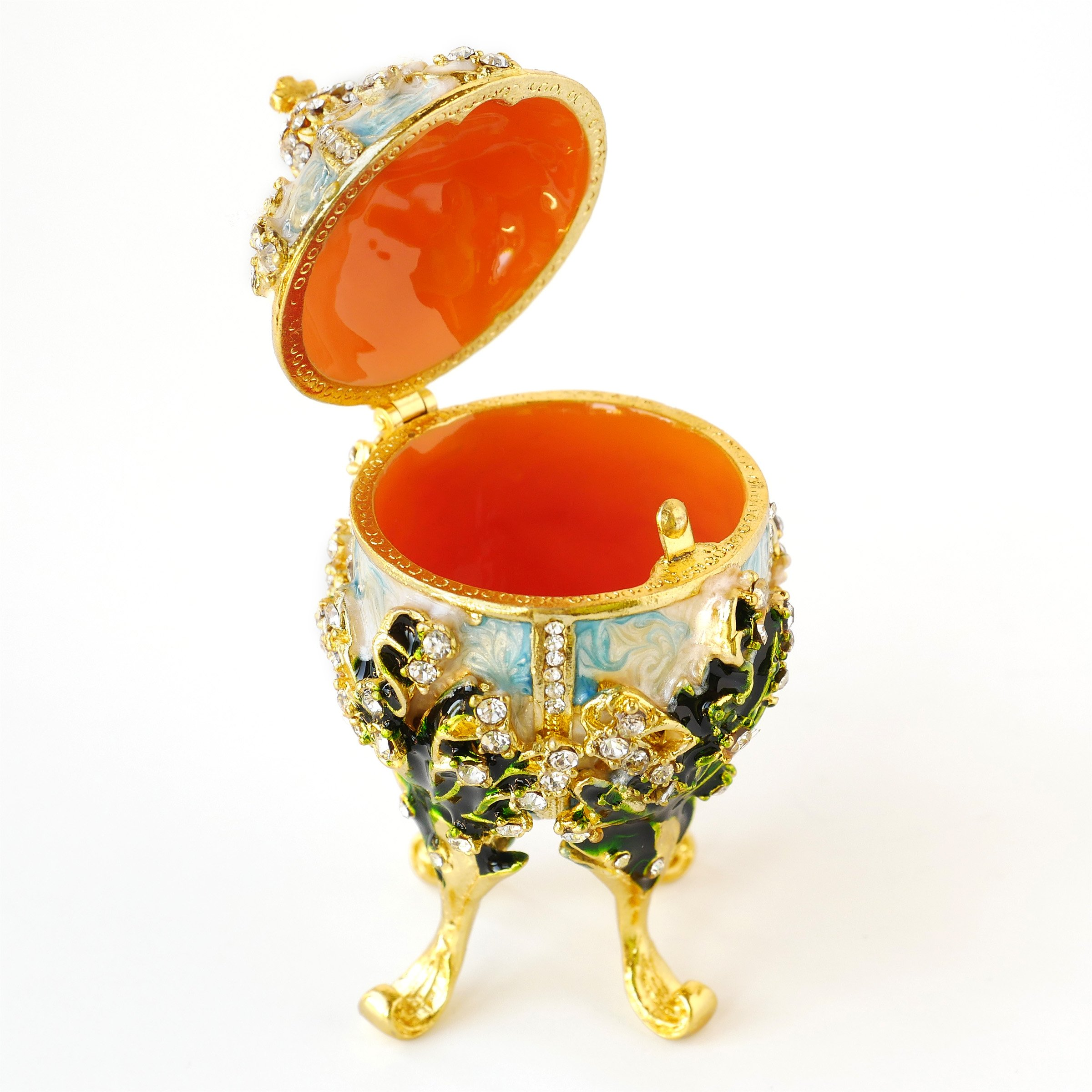 Apropos Hand-Painted Vintage Style Faberge Egg with Rich Enamel and Sparkling Rhinestones Jewelry Trinket Box (S. White Cross) by Apropos (Image #2)