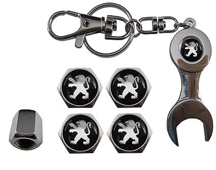 ETMA Llavero Metal + valvulas Compatible con Peugeot Negro aut011-41