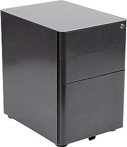 Flash Furniture Modern 3-Drawer Mobile Locking Filing Cabinet with Anti-Tilt Mechanism and Hanging Drawer for Legal & Letter Files, Black