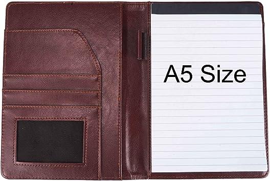 Junior Portfolio Folder // Business Padfolio for Men /& Women Brown Samsill Contrast Stitch Leather Small Portfolio 5 x 8 Mini Writing Pad
