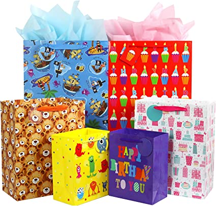 Blue Lorry Goodie Gift Bags Made of Paper for Kids Boys Farm Themed Birthday Party Set of 12