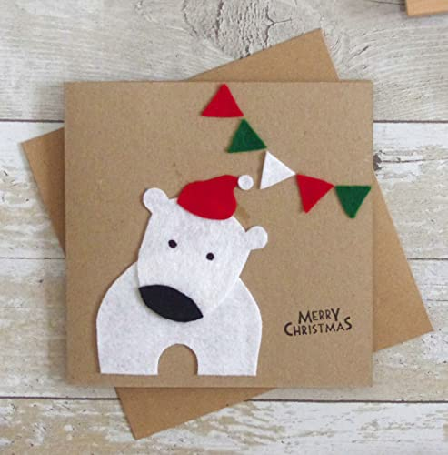 Ideas For Christmas Cards Handmade.Polar Bear Christmas Card Handmade Felt Xmas Card Kids