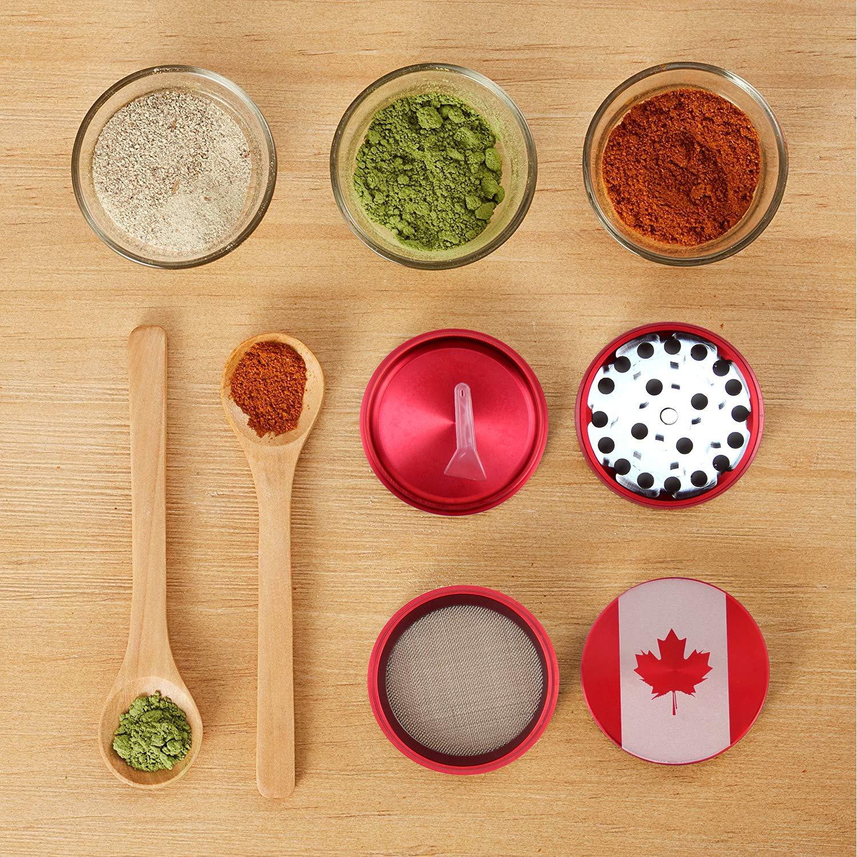 Best Aluminum Herb Sipce Crusher 4 Pieces Canada Red Premium Herb Grinder 2 with Pollen Catcher
