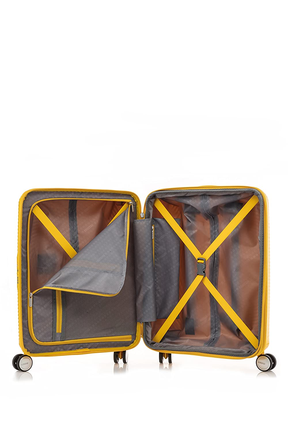 American Tourister Curio Spinner 3-Piece Nested Luggage Set Golden Yellow Checked-Medium Model:86231-1371