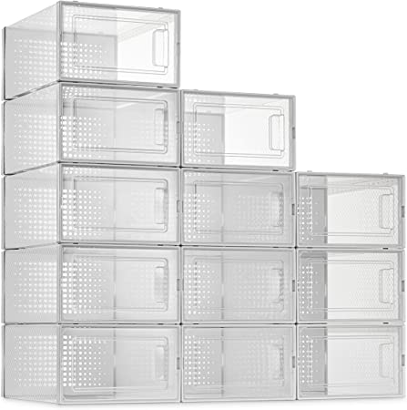 12 Pack Shoe Storage Boxes, Clear