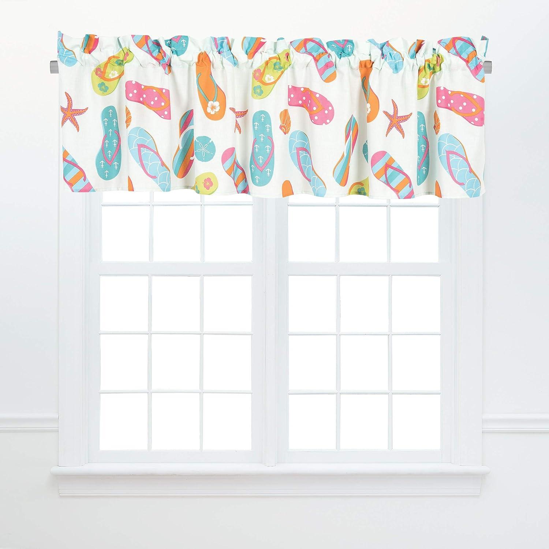 Amazon Com C F Home Flip Flop Life Valance Set Of 2 Beach House Coastal Cotton Curtains For Window Living Dining Bedroom Bathroom Kitchen Valance Set Of 2 Orange Home Kitchen