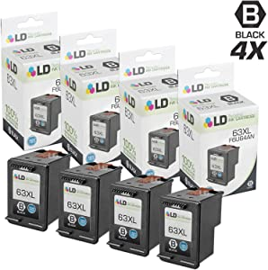 LD Remanufactured Ink Cartridge Replacement for HP 63XL F6U64AN High Yield (Black, 4-Pack)