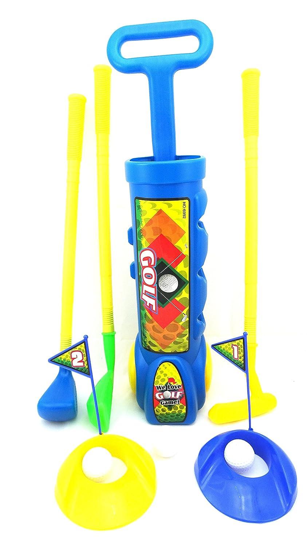 おもちゃGolfセットfor Childrenミニゴルフ玩具セットfor Ages 3 +ゴルフPlayセットwith 3ゴルフクラブ4ゴルフボール2練習穴2ティーと2フラグGolfingセットカラーブルー B01CKJ2RE0
