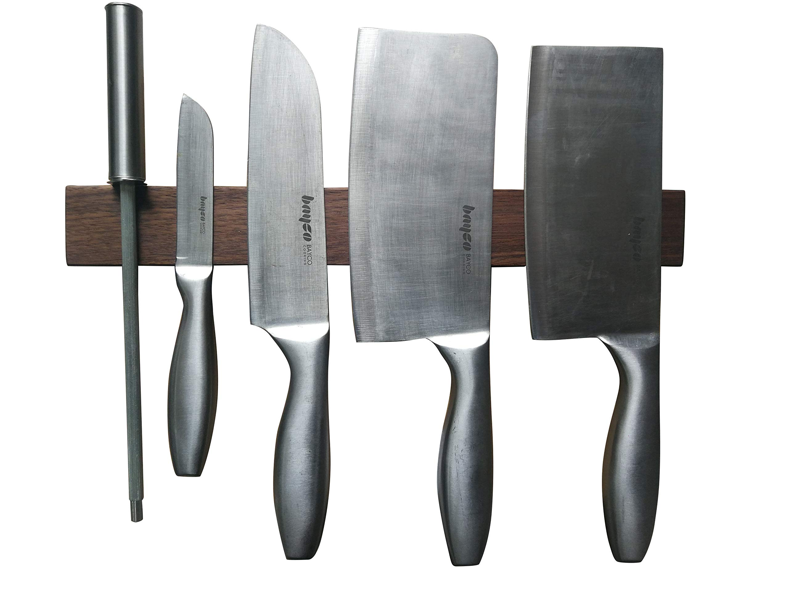 Seatrend Walnut Wood Magnetic Knife Strips 14 inch,Solid Wall Mount Wooden Knife Rack, Bar, Kitchen Knives Holder Metal Tools Organizer (BackHole)