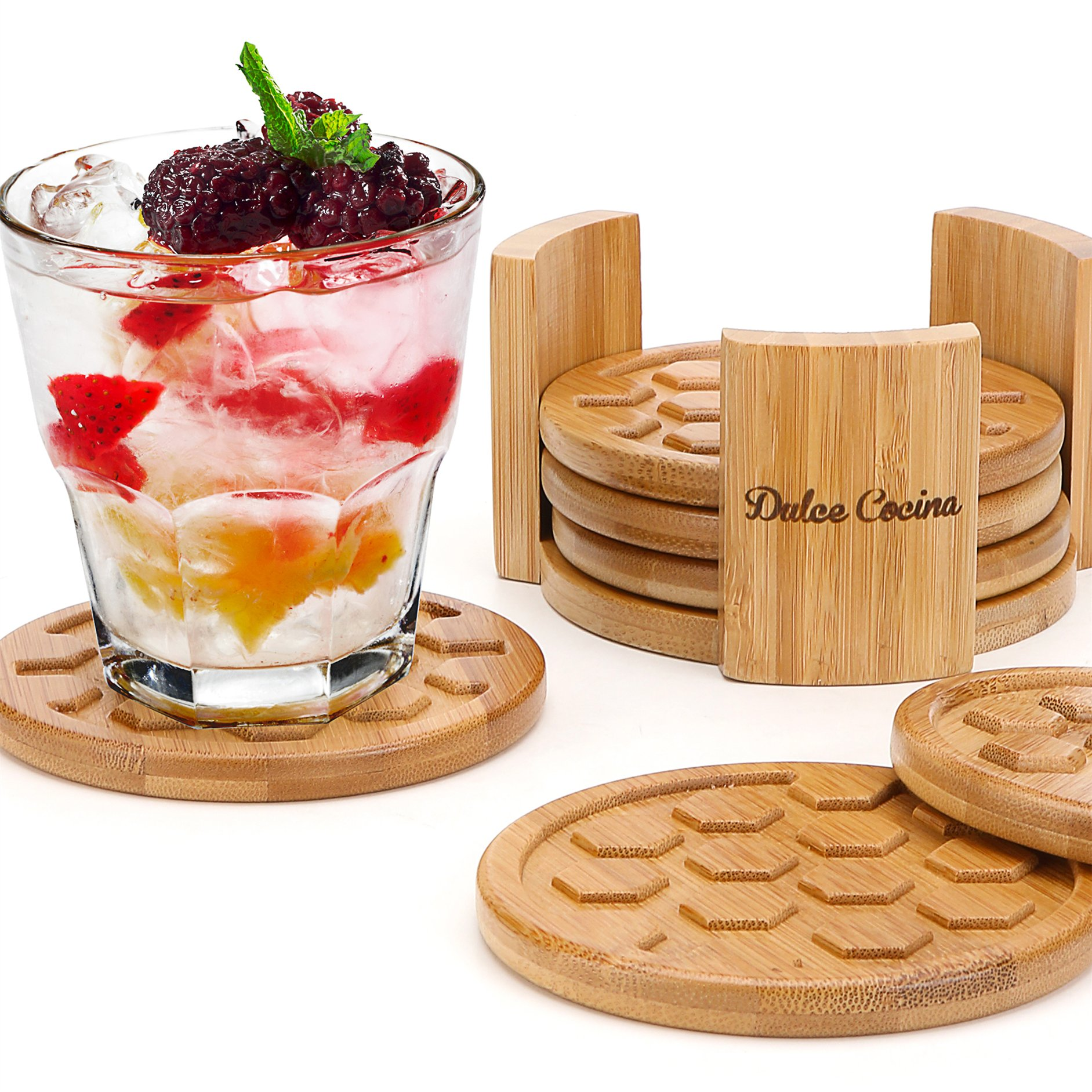 Coasters For Drinks 6 Pack - Round Bamboo Cup Mats Set of 6 Coaster In Elegant Holder Stand - Grooved & Deep Tray Trapping Spill and Sweat To Protect Furniture, 4.3'' Large Size, Safe to All Surfaces