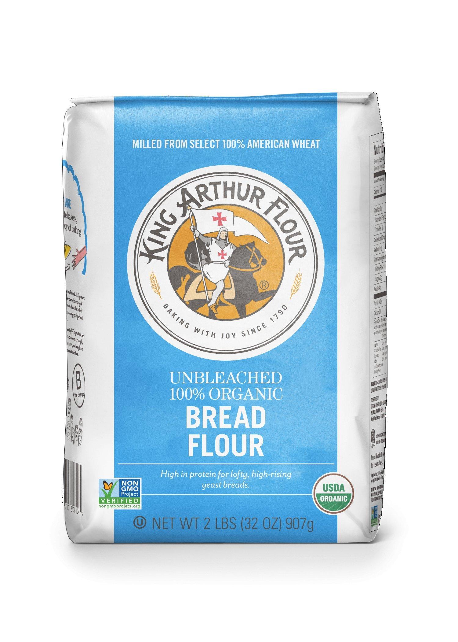 King Arthur Flour 100% Organic Bread Flour , 2 Pound (Pack of 12)